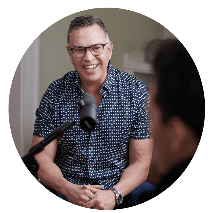 Promotional photo of Kent Ingle interviewing a person for the Framework Leadership podcast.
